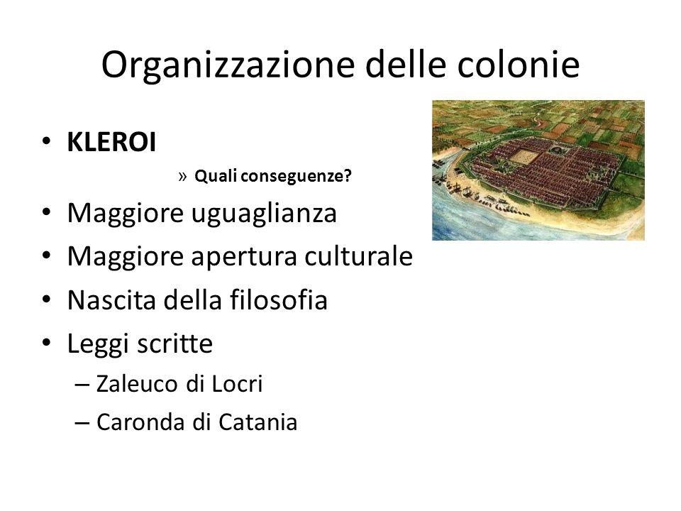 Organizzazione delle colonie