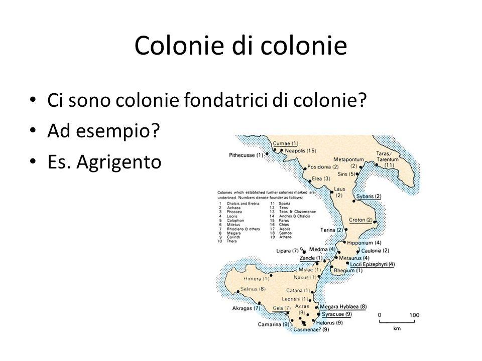 Colonie di colonie Ci sono colonie fondatrici di colonie Ad esempio