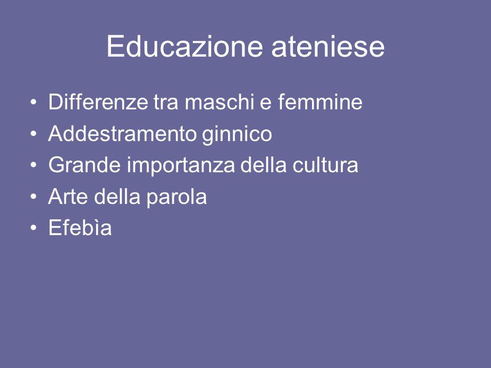 Educazione ateniese Differenze tra maschi e femmine