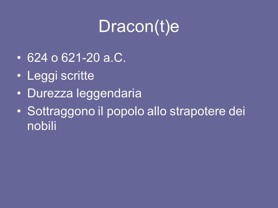 Dracon(t)e 624 o 621-20 a.C. Leggi scritte Durezza leggendaria