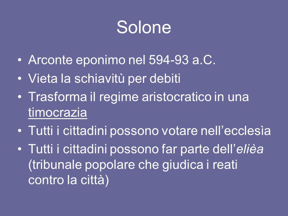 Solone Arconte eponimo nel 594-93 a.C. Vieta la schiavitù per debiti
