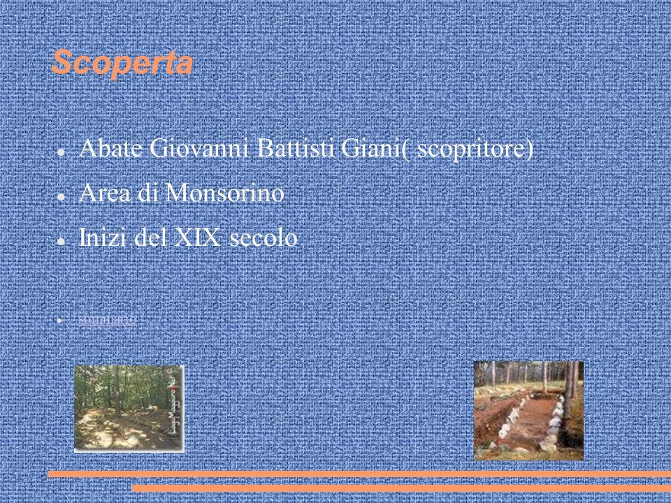 Scoperta Abate Giovanni Battisti Giani( scopritore) Area di Monsorino