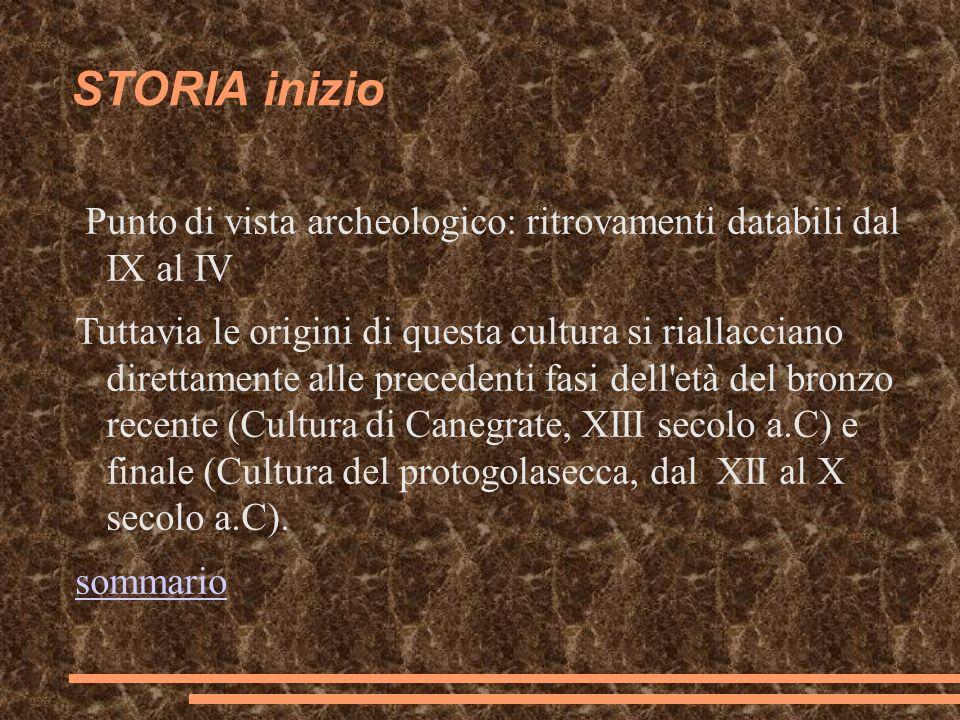 STORIA inizio Punto di vista archeologico: ritrovamenti databili dal IX al IV.