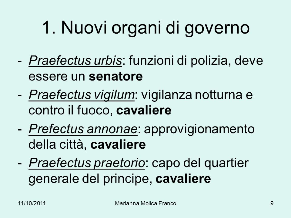 1. Nuovi organi di governo
