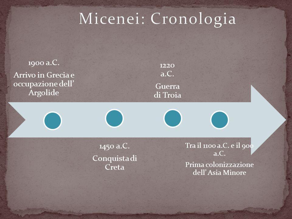 Micenei: Cronologia 1900 a.C. 1220 a.C.