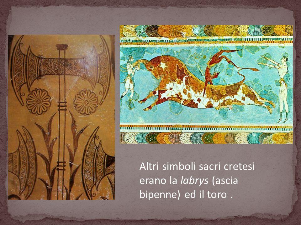 Altri simboli sacri cretesi erano la labrys (ascia bipenne) ed il toro .