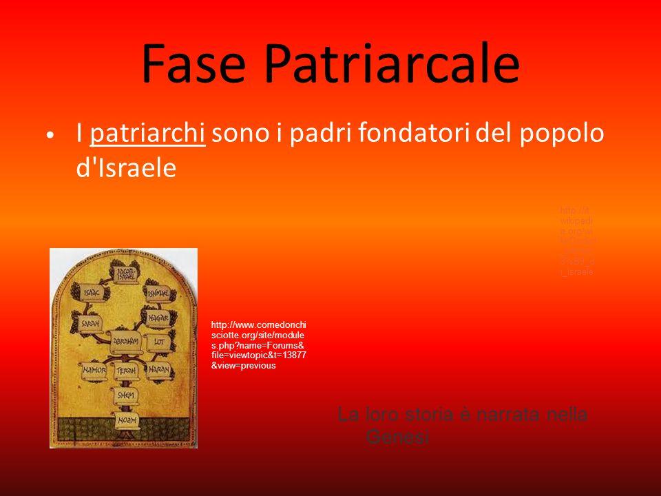 Fase Patriarcale I patriarchi sono i padri fondatori del popolo d Israele. http://it.wikipedia.org/wiki/Dodici_trib%C3%B9_di_Israele.