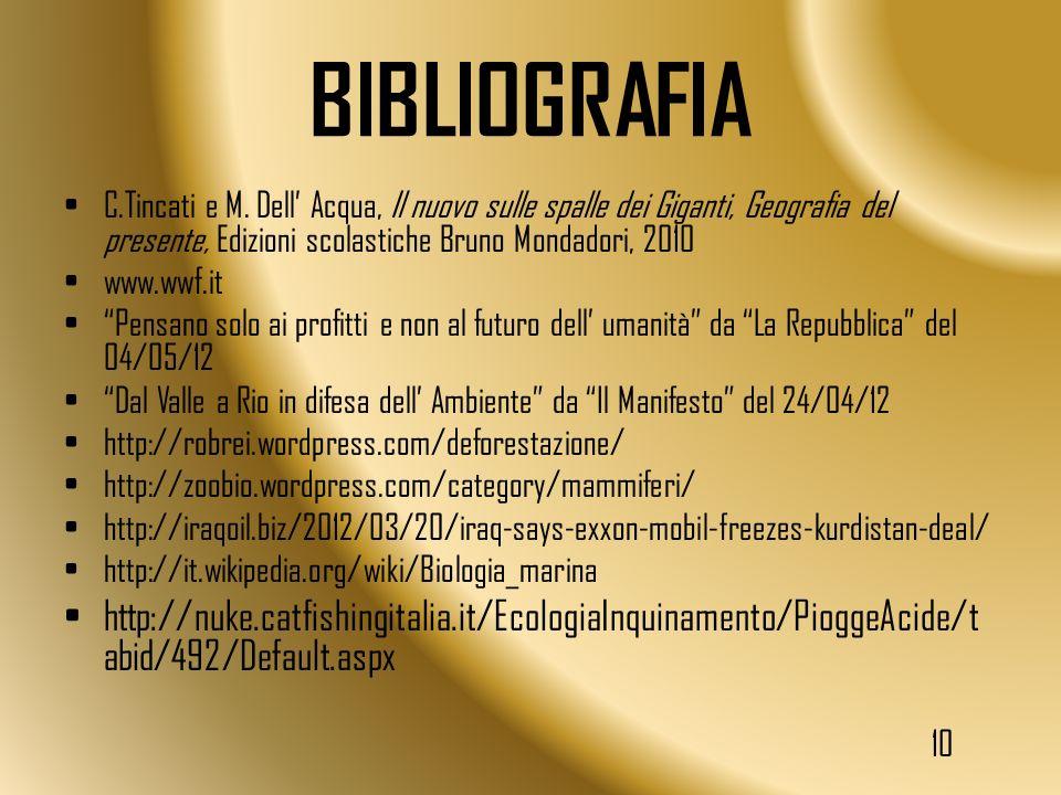 BIBLIOGRAFIA C.Tincati e M. Dell' Acqua, Il nuovo sulle spalle dei Giganti, Geografia del presente, Edizioni scolastiche Bruno Mondadori, 2010.