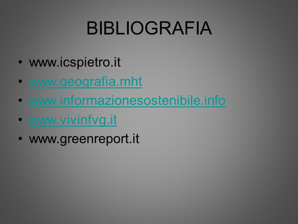 BIBLIOGRAFIA www.icspietro.it www.geografia.mht