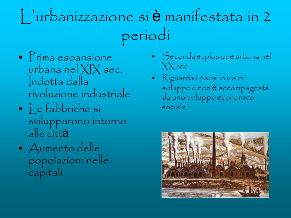 L'urbanizzazione si è manifestata in 2 periodi