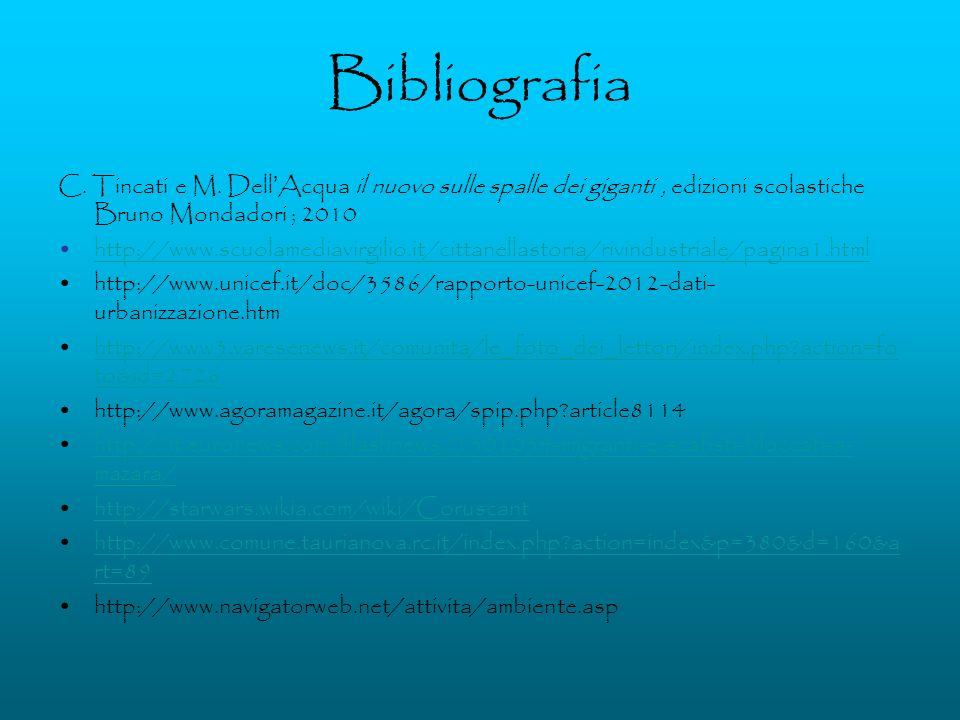 Bibliografia C. Tincati e M. Dell'Acqua il nuovo sulle spalle dei giganti , edizioni scolastiche Bruno Mondadori ; 2010.