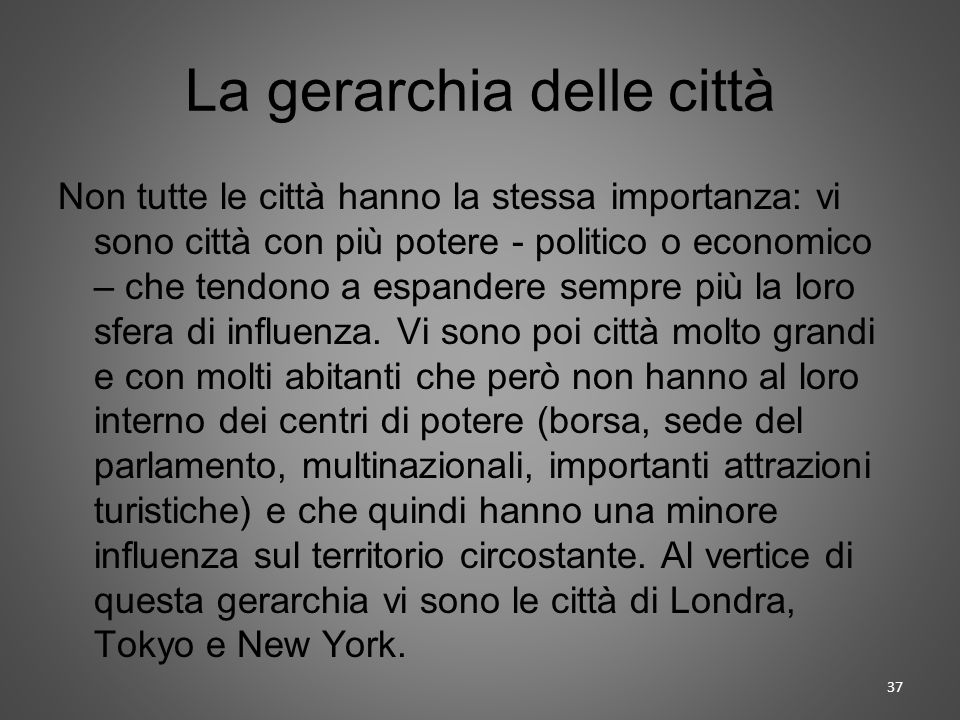 La gerarchia delle città