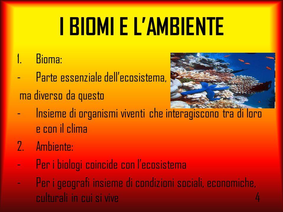 I BIOMI E L'AMBIENTE Bioma: Parte essenziale dell'ecosistema,