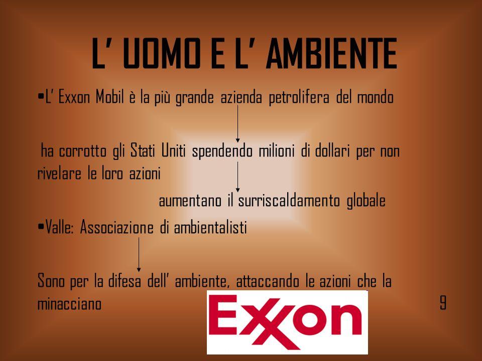 L' UOMO E L' AMBIENTE L' Exxon Mobil è la più grande azienda petrolifera del mondo.