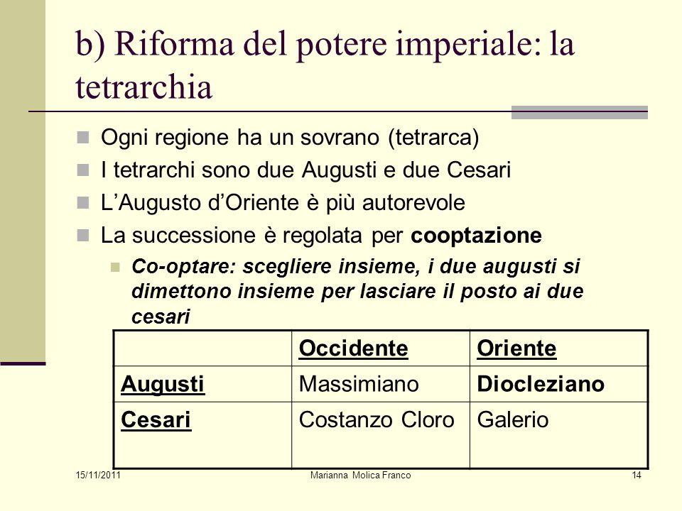 b) Riforma del potere imperiale: la tetrarchia