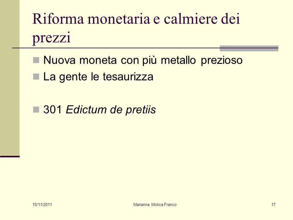 Riforma monetaria e calmiere dei prezzi