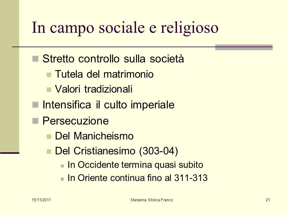 In campo sociale e religioso