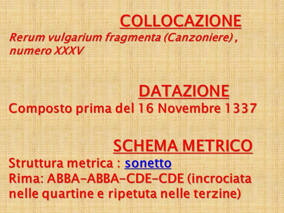 COLLOCAZIONE Rerum vulgarium fragmenta (Canzoniere) , numero XXXV. DATAZIONE Composto prima del 16 Novembre 1337.