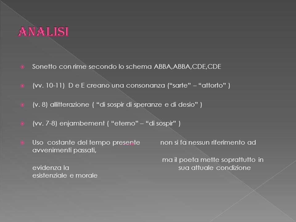Analisi Sonetto con rime secondo lo schema ABBA,ABBA,CDE,CDE