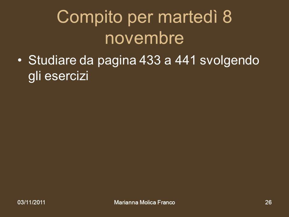 Compito per martedì 8 novembre