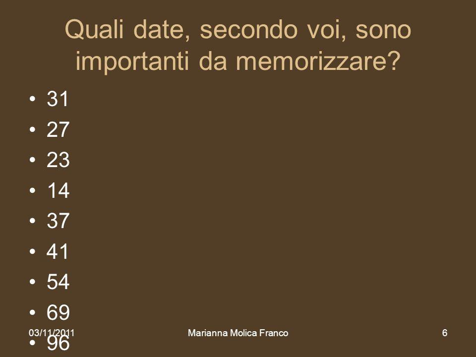 Quali date, secondo voi, sono importanti da memorizzare