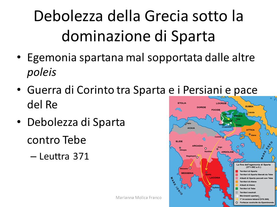 Debolezza della Grecia sotto la dominazione di Sparta