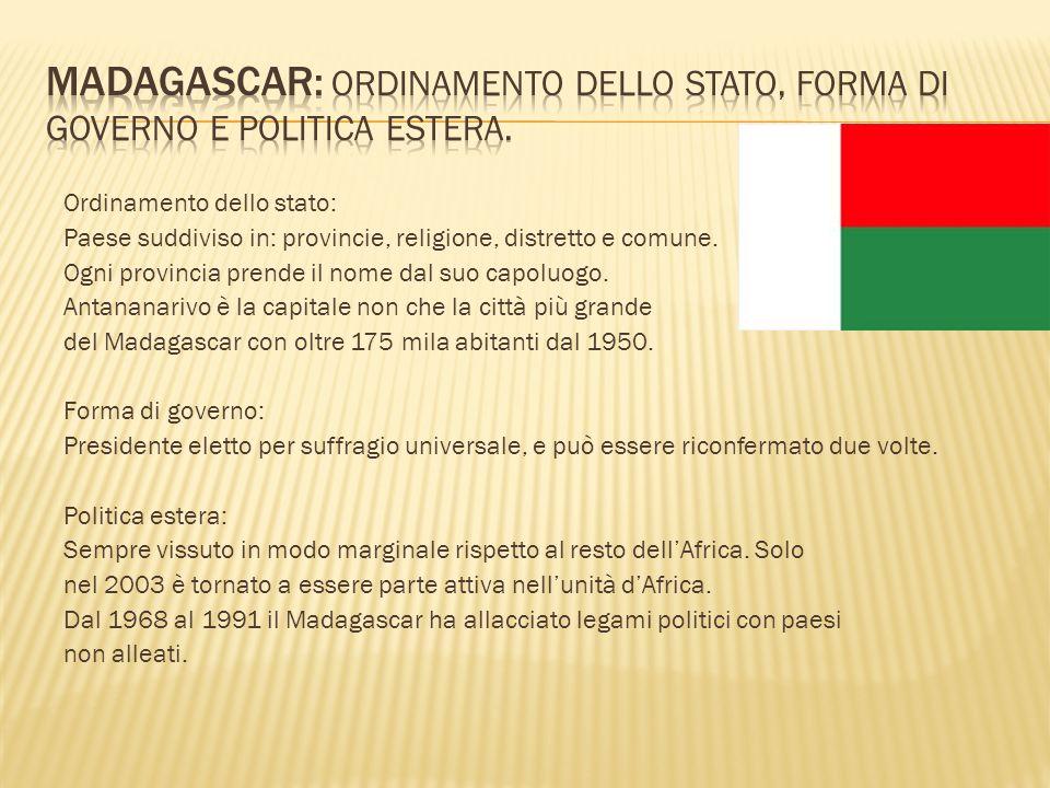 Madagascar: Ordinamento dello stato, forma di governo e politica estera.