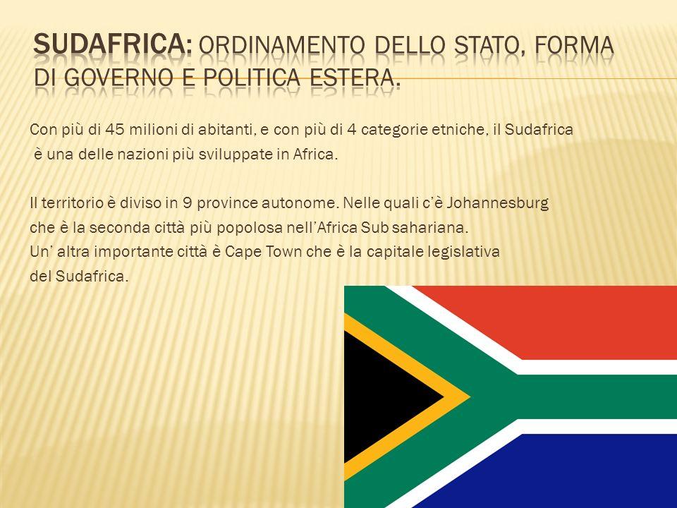 Sudafrica: Ordinamento dello stato, forma di governo e politica estera.