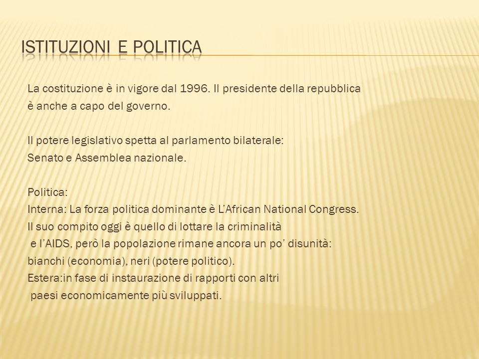 Istituzioni e politica