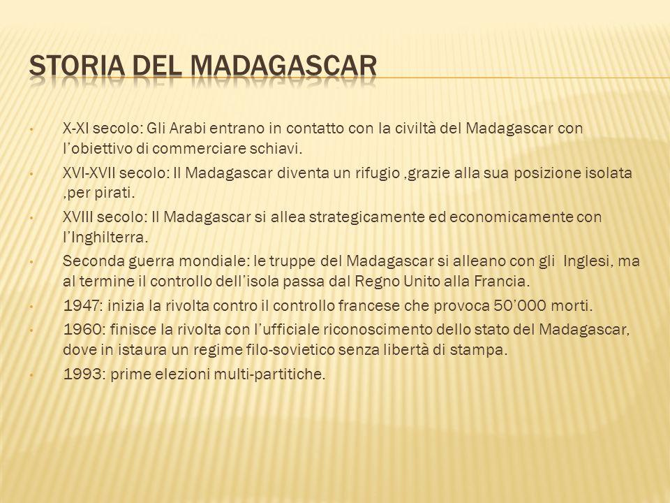 Storia Del Madagascar X-XI secolo: Gli Arabi entrano in contatto con la civiltà del Madagascar con l'obiettivo di commerciare schiavi.