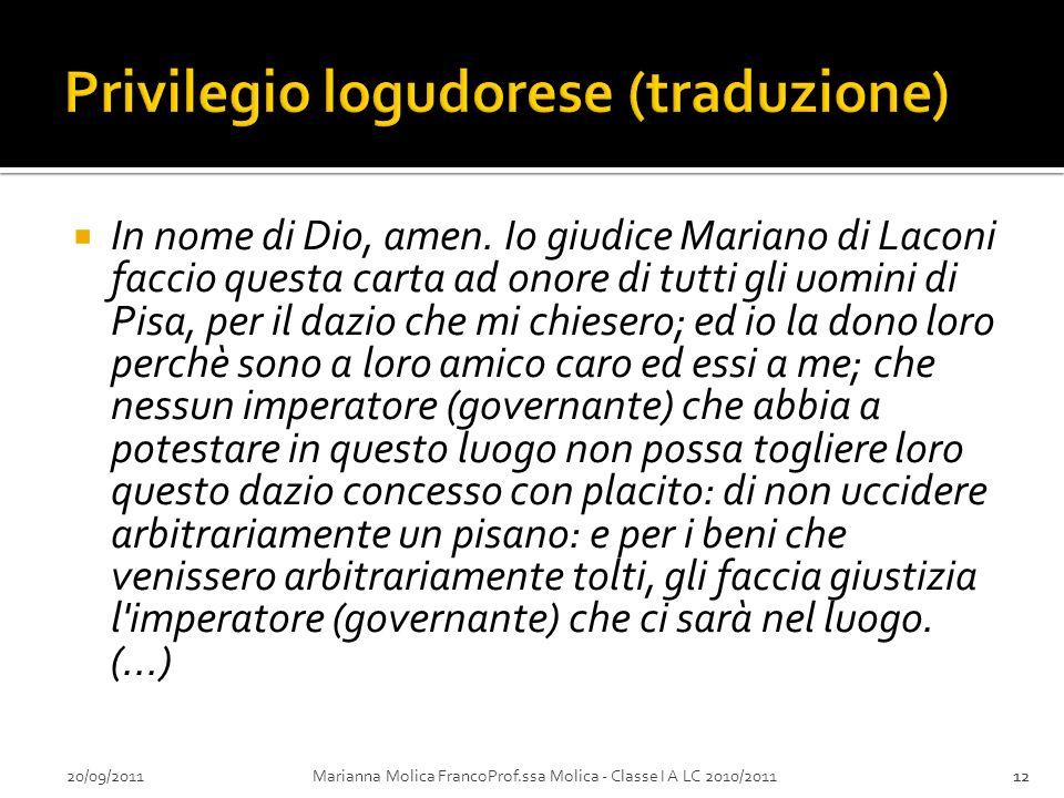 Privilegio logudorese (traduzione)