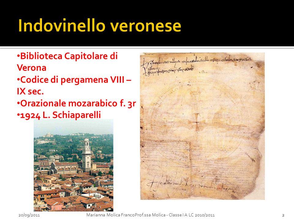Indovinello veronese Biblioteca Capitolare di Verona