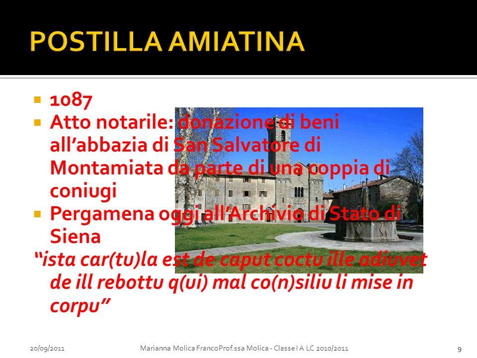 POSTILLA AMIATINA 1087. Atto notarile: donazione di beni all'abbazia di San Salvatore di Montamiata da parte di una coppia di coniugi.