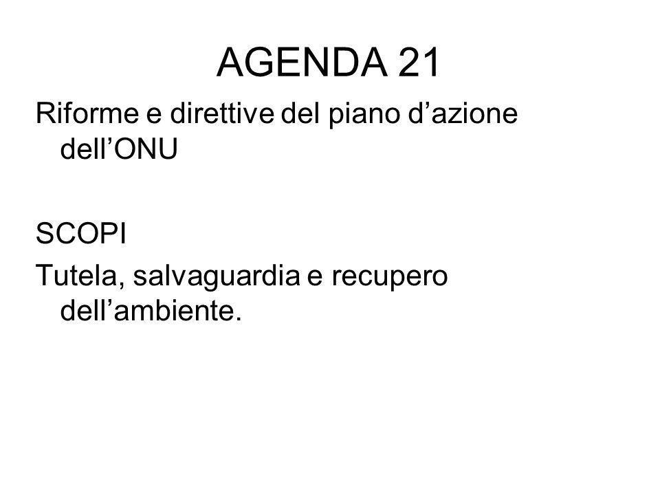 AGENDA 21 Riforme e direttive del piano d'azione dell'ONU SCOPI