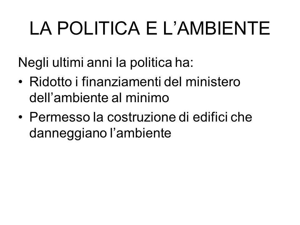 LA POLITICA E L'AMBIENTE