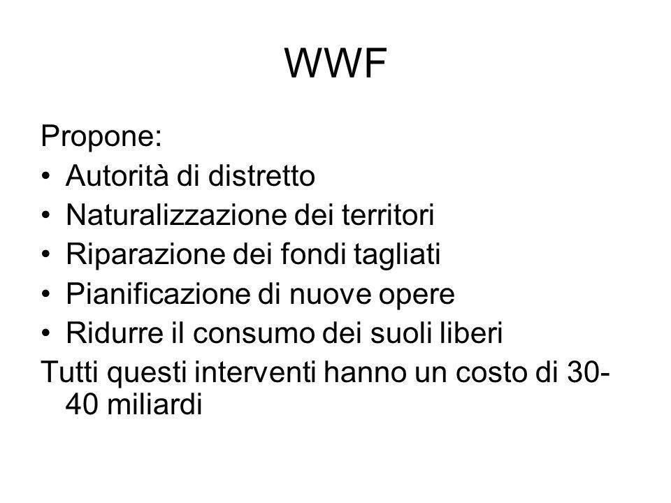 WWF Propone: Autorità di distretto Naturalizzazione dei territori