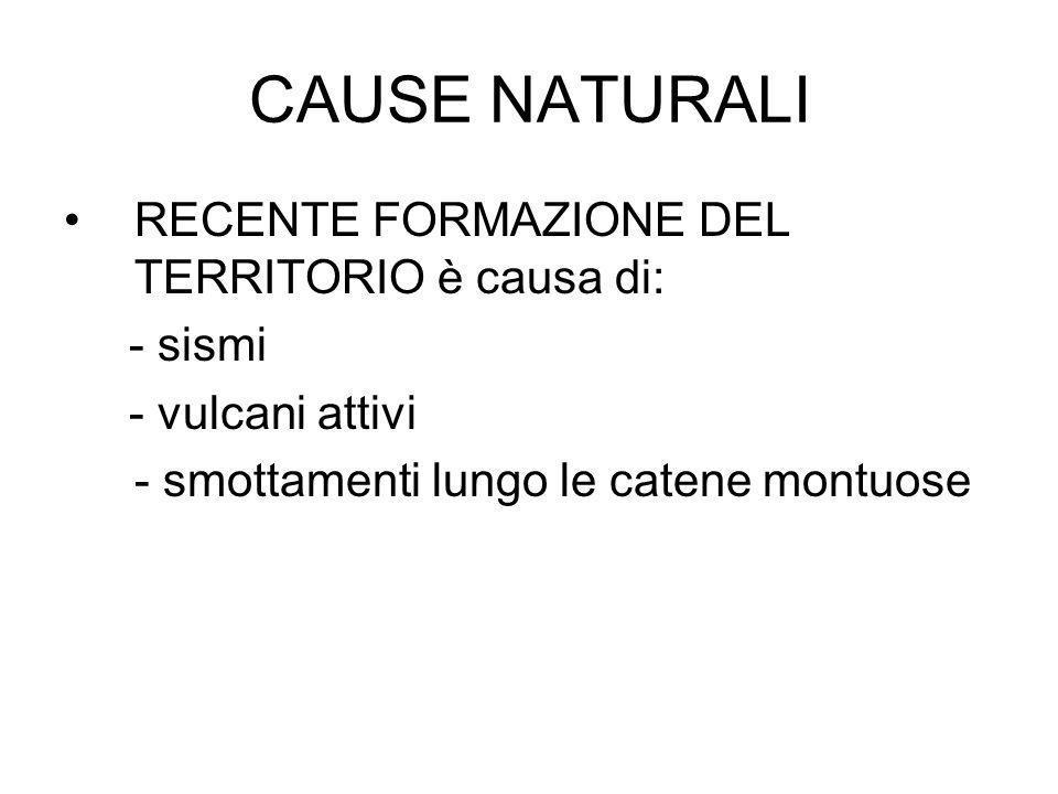 CAUSE NATURALI RECENTE FORMAZIONE DEL TERRITORIO è causa di: - sismi