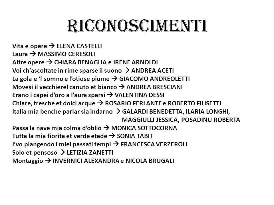 RICONOSCIMENTI Vita e opere  ELENA CASTELLI Laura  MASSIMO CERESOLI