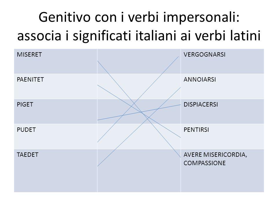 Genitivo con i verbi impersonali: associa i significati italiani ai verbi latini