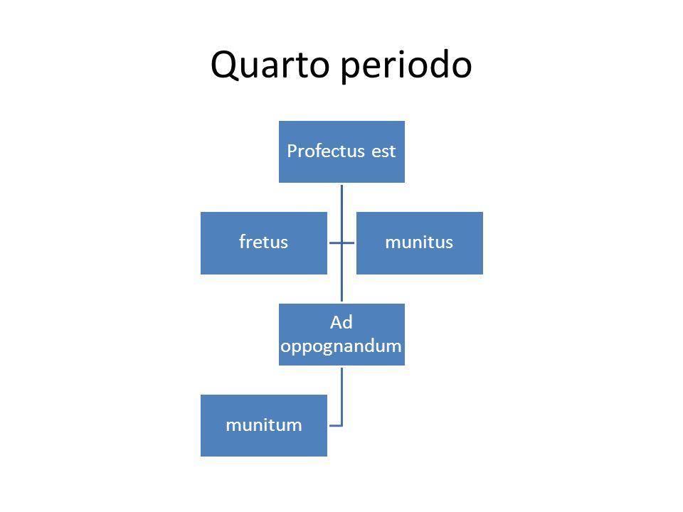Quarto periodo Profectus est fretus Ad oppognandum munitum munitus