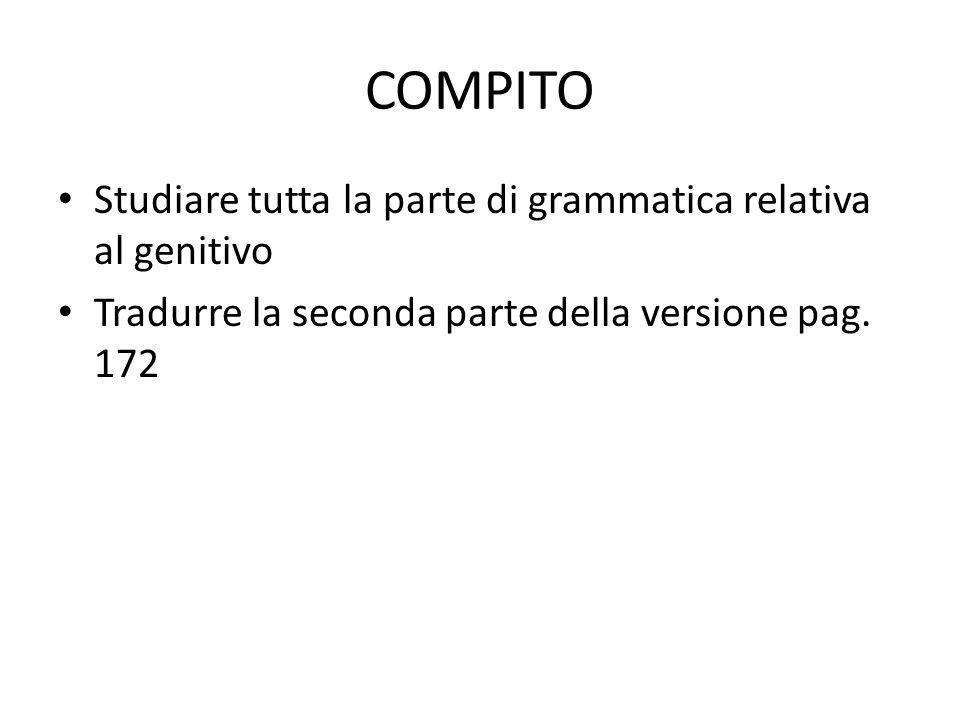 COMPITO Studiare tutta la parte di grammatica relativa al genitivo