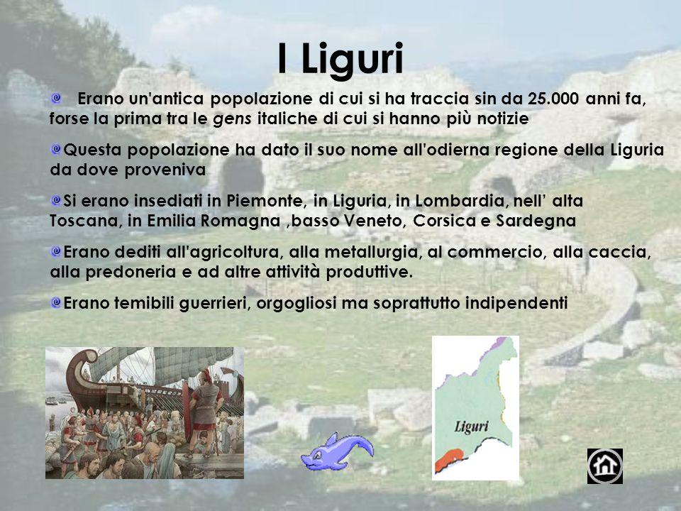 I Liguri Erano un antica popolazione di cui si ha traccia sin da 25.000 anni fa, forse la prima tra le gens italiche di cui si hanno più notizie.