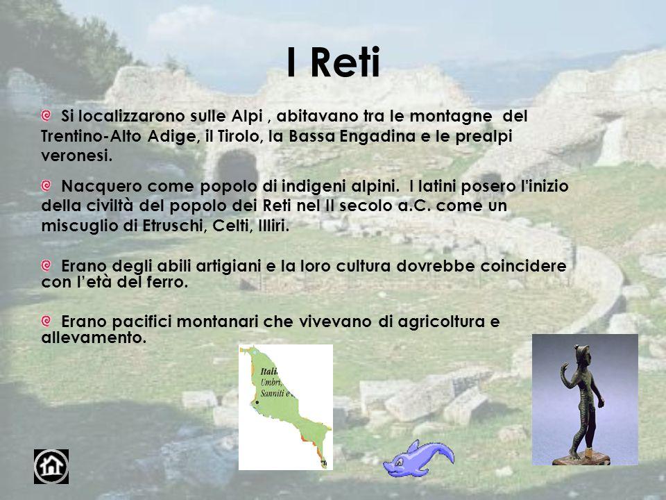 I Reti Si localizzarono sulle Alpi , abitavano tra le montagne del Trentino-Alto Adige, il Tirolo, la Bassa Engadina e le prealpi veronesi.