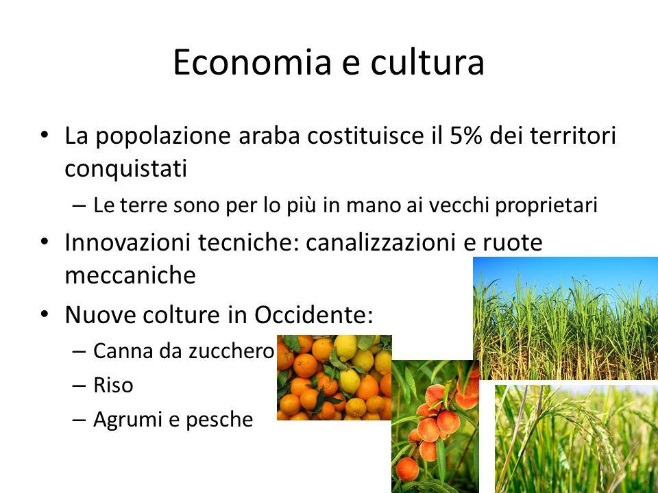 Economia e cultura La popolazione araba costituisce il 5% dei territori conquistati. Le terre sono per lo più in mano ai vecchi proprietari.
