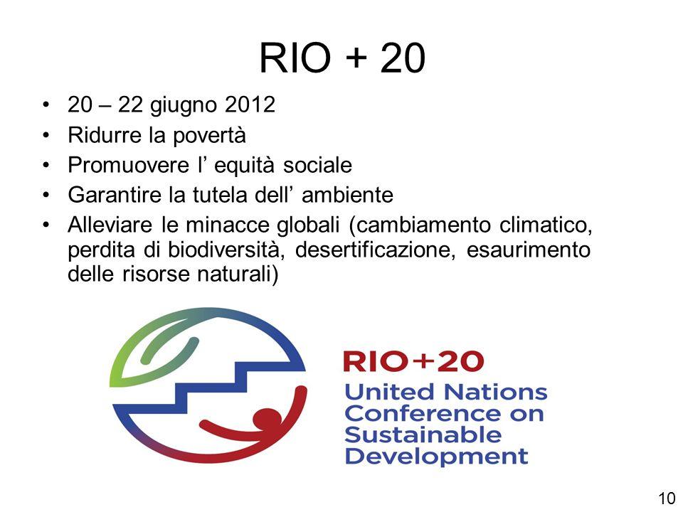 RIO + 20 20 – 22 giugno 2012 Ridurre la povertà