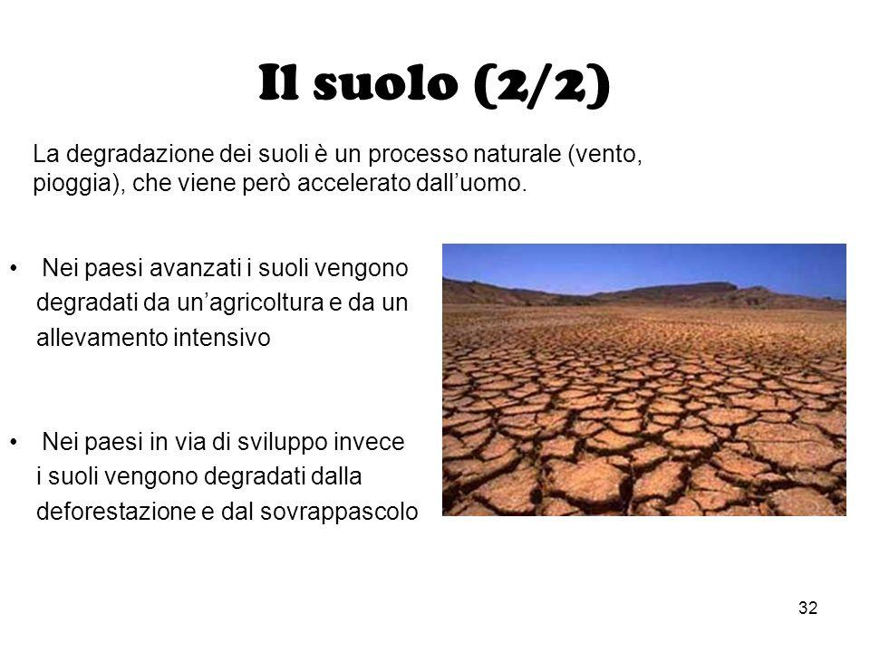 Il suolo (2/2) La degradazione dei suoli è un processo naturale (vento, pioggia), che viene però accelerato dall'uomo.
