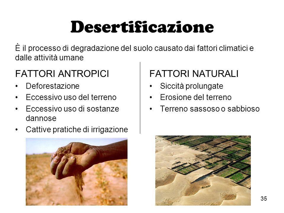 Desertificazione FATTORI ANTROPICI FATTORI NATURALI