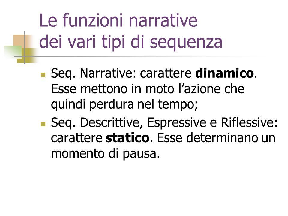 Le funzioni narrative dei vari tipi di sequenza
