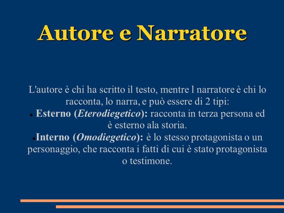 Autore e Narratore L autore è chi ha scritto il testo, mentre l narratore è chi lo racconta, lo narra, e può essere di 2 tipi: