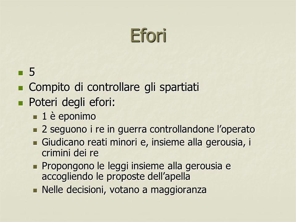 Efori 5 Compito di controllare gli spartiati Poteri degli efori:
